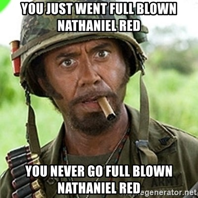 You went full retard man, never go full retard - you just went full blown nathaniel red you never go full blown Nathaniel red