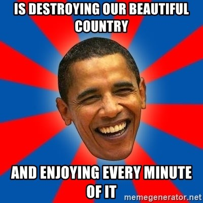 Obama - is destroying our beautiful country and enjoying every minute of it