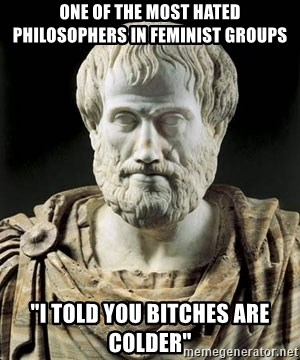 "Aristotle - One of the most hated philosophers in feminist groups ""I told you bitches are colder"""