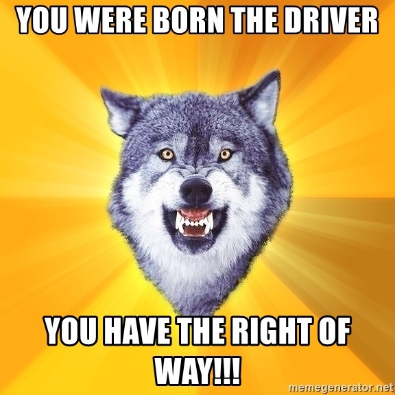 Courage Wolf - you were born the Driver you have the right of way!!!