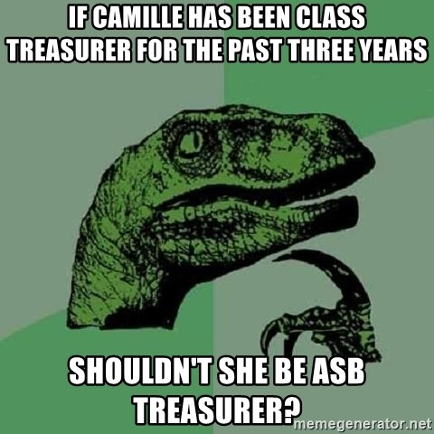 Philosoraptor - IF Camille has been class treasurer for the past three years shouldn't she be ASB Treasurer?
