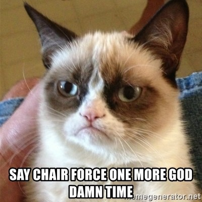 Grumpy Cat  -  Say chair force one more gOd damn time