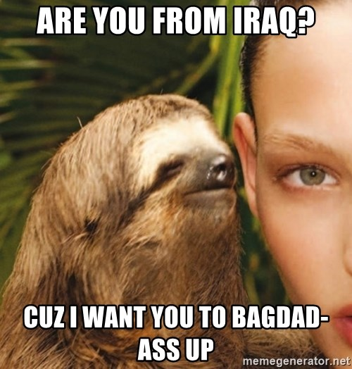 The Rape Sloth - Are you from iraq? Cuz i want you to bagdad-ass up