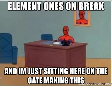 Spiderman Desk - element ones on break and im just sitting here on the gate making this