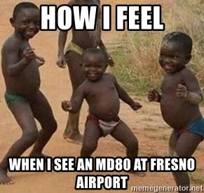 african children dancing - how i feel when i see an md80 at fresno airport