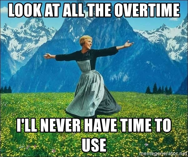 Look at all the things - Look at all the overtime I'll never have time to use