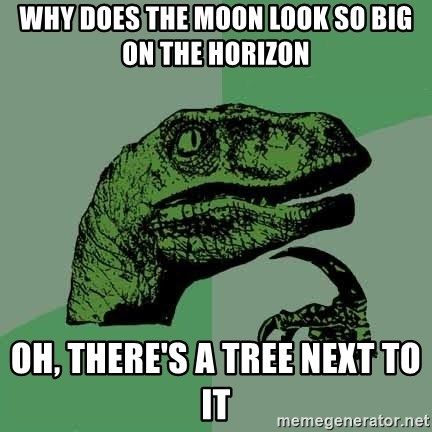 Raptor - Why does the moon look so big on the horizon OH, there's a tree next to it