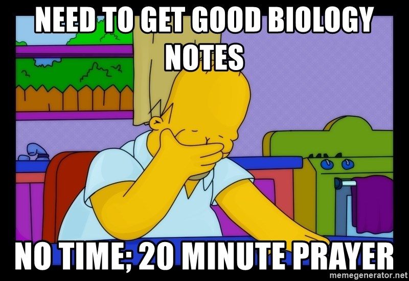 Homer Facepalm - NEed to get good biology notes no time; 20 minute prayer