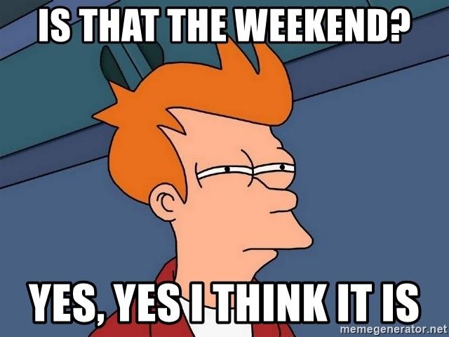 Futurama Fry - Is that the weekend? Yes, yes I think it is