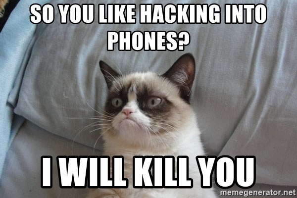 Grumpy cat good - So you like hacking into phones? I will kill you
