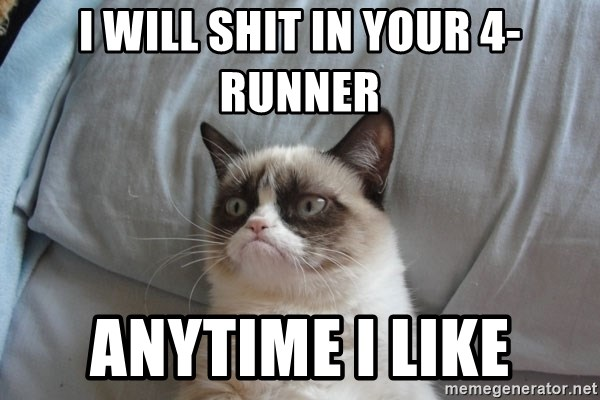 Grumpy cat good - I will shit in your 4-runner Anytime I like