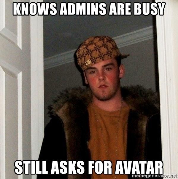 Scumbag Steve - knows admins are busy still asks for avatar