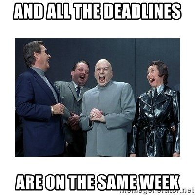Dr. Evil Laughing - and all the deadlines are on the same week