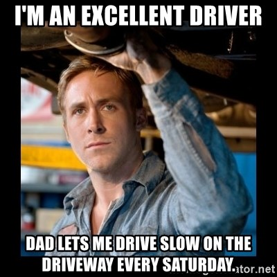 Confused Ryan Gosling - I'm an EXCELLENT DRIVER Dad lets me drive slow on the driveway every Saturday.