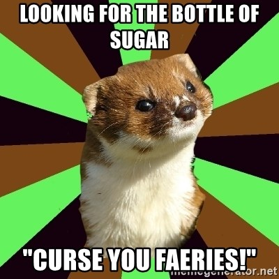 """Witchcraft Weasel - Looking for the bottle of sugar """"Curse you faeries!"""""""