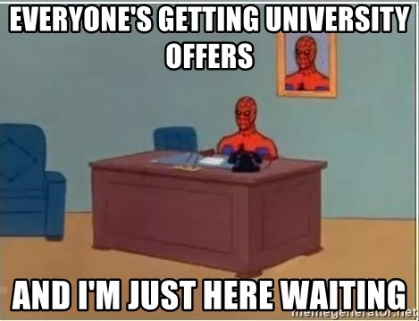 Spiderman Desk - everyone's getting university offers and i'm just here waiting