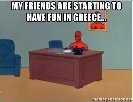 Spiderman Desk - My friends are starting to have fun in greece...