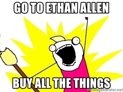 X ALL THE THINGS - Go to Ethan allen BuY all the things