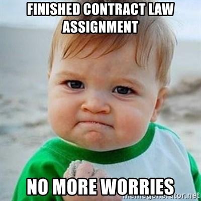 Victory Baby - finished contract law assignment  no more worries