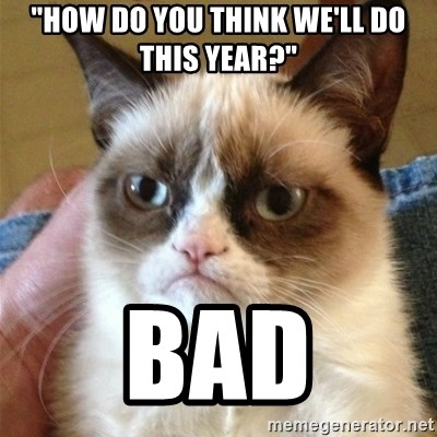 "Grumpy Cat  - ""How do you think we'll do this year?"" Bad"