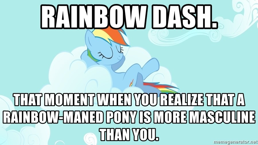 Rainbow Dash Cloud - Rainbow Dash. That moment when you realize that a rainbow-maned pony is more masculine than you.