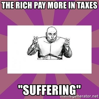 "'dr. evil' air quote - The RICH PAY MORE IN TAXES ""SUFFERING"""