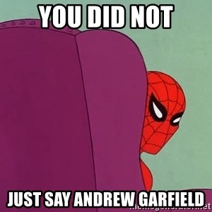 Suspicious Spiderman - you did not just say andrew garfield