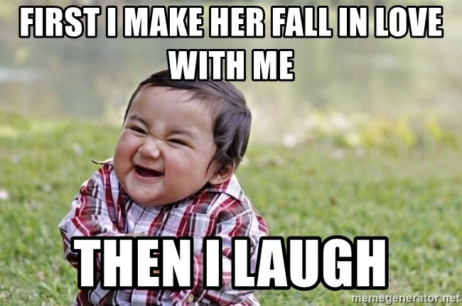 evil asian plotting baby - First I make her Fall in love with me Then I laugh
