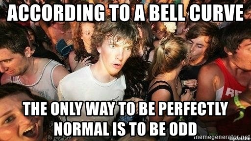 -Sudden Clarity Clarence - ACCORDING TO A BELL CURVE the only way to be PERFECTLY normal is to be Odd