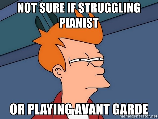 Futurama Fry - Not sure if struggling pianist or playing avant garde