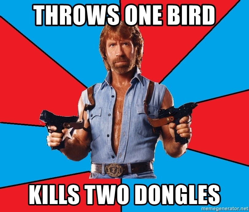 Chuck Norris  - THROWS one bird kills two dongles
