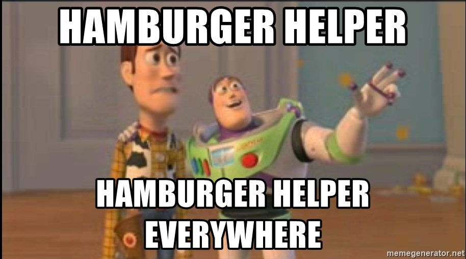 X, X Everywhere  - hamburger helper hamburger helper everywhere