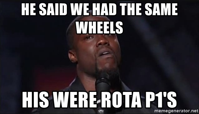 Kevin Hart Face - he said we had the same wheels his were rota p1's
