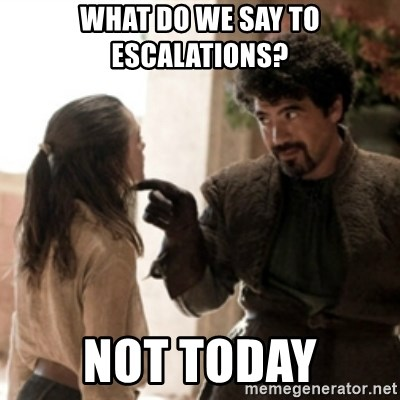 Not today arya - What do we say to escalations? Not today
