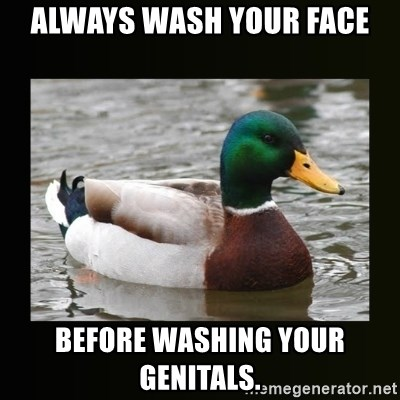 good advice duck - Always wash your face before washing your genitals.