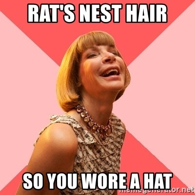 Amused Anna Wintour - Rat's Nest haiR So you Wore a Hat