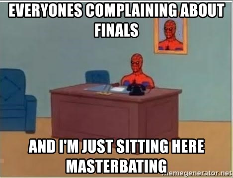 Spiderman Desk - Everyones complaining about finals and i'm just sitting here masterbating