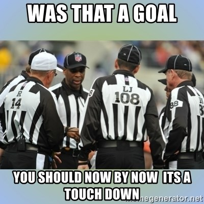 NFL Ref Meeting - WAS THAT A GOAL  YOU SHOULD NOW BY NOW  ITS A TOUCH DOWN