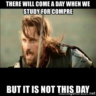There will come a day but it is not this day - There will come a day when we study for compre but it is not this day