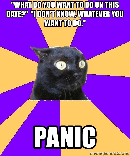 """Anxiety Cat - """"What do you want to do on this date?""""  """"I don't know, whatever you want to do."""" Panic"""
