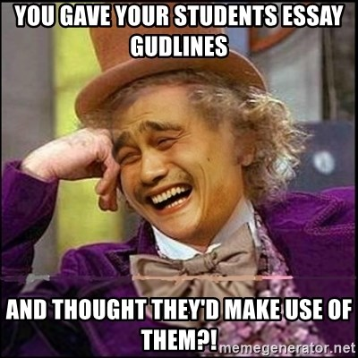 yaowonkaxd - You gave your students essay gudlines And thought they'd make use of them?!