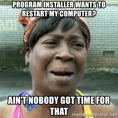 Ain't Nobody got time fo that - Program Installer wants to restart my computer? ain't nobody got time for that