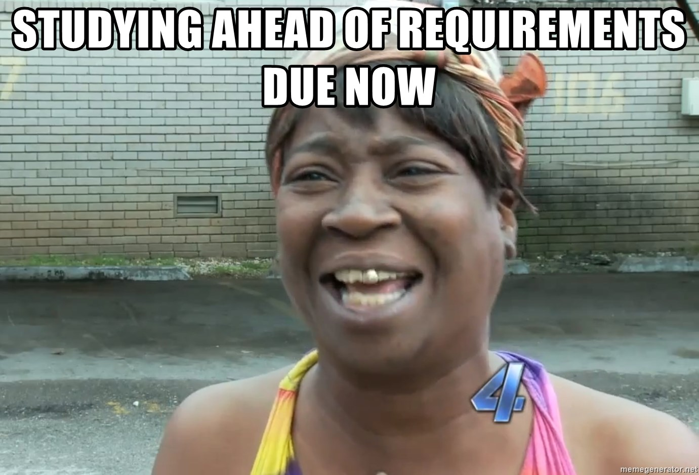 Ain`t nobody got time fot dat - Studying ahead of requirements due now