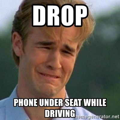 Crying Dawson - drop phone under seat while driving