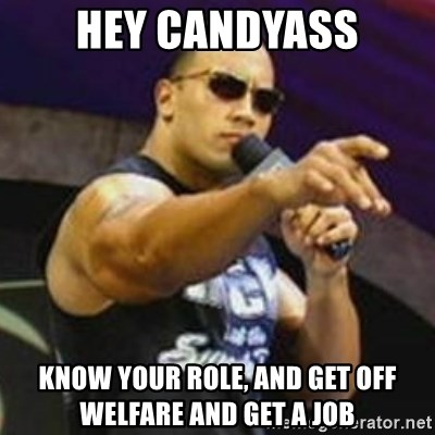 Dwayne 'The Rock' Johnson - Hey candyass Know your role, and get off welfare and get a job