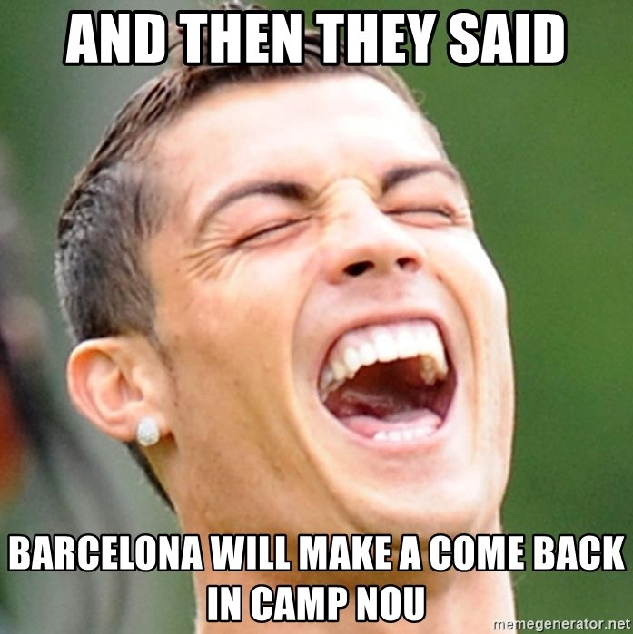 Cristiano Ronaldo Laughing - and then they said barcelona will make a come back in Camp Nou