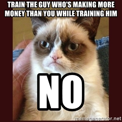 Tard the Grumpy Cat - Train the guy who's making more money than you while training him no