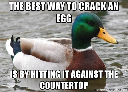 Actual Advice Mallard 1 - The best way to crack an egg is by hitting it against the countertop