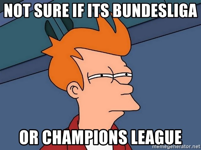 Futurama Fry - Not sure if its bundEsliga Or champions leAgue