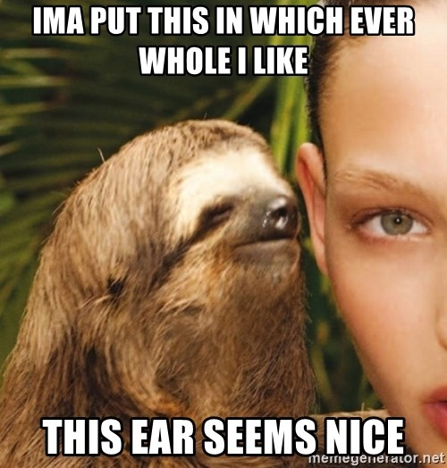 The Rape Sloth - ima put this in which ever whole i like this ear seems nice
